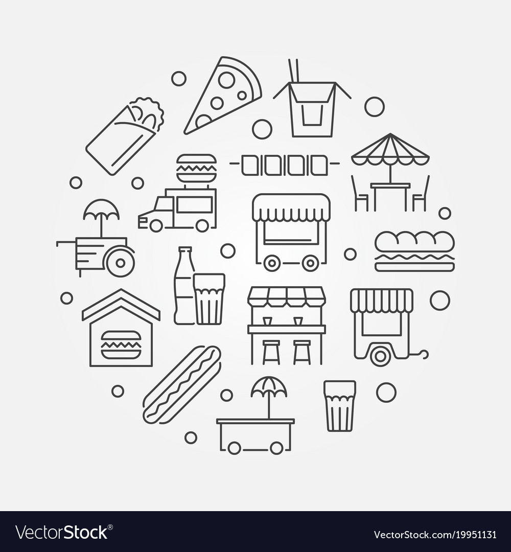 Street food festival outline vector image