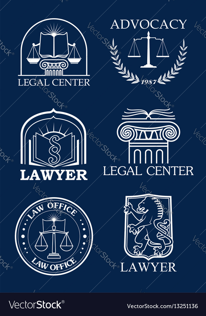 Advocacy or lawyer legal icons set