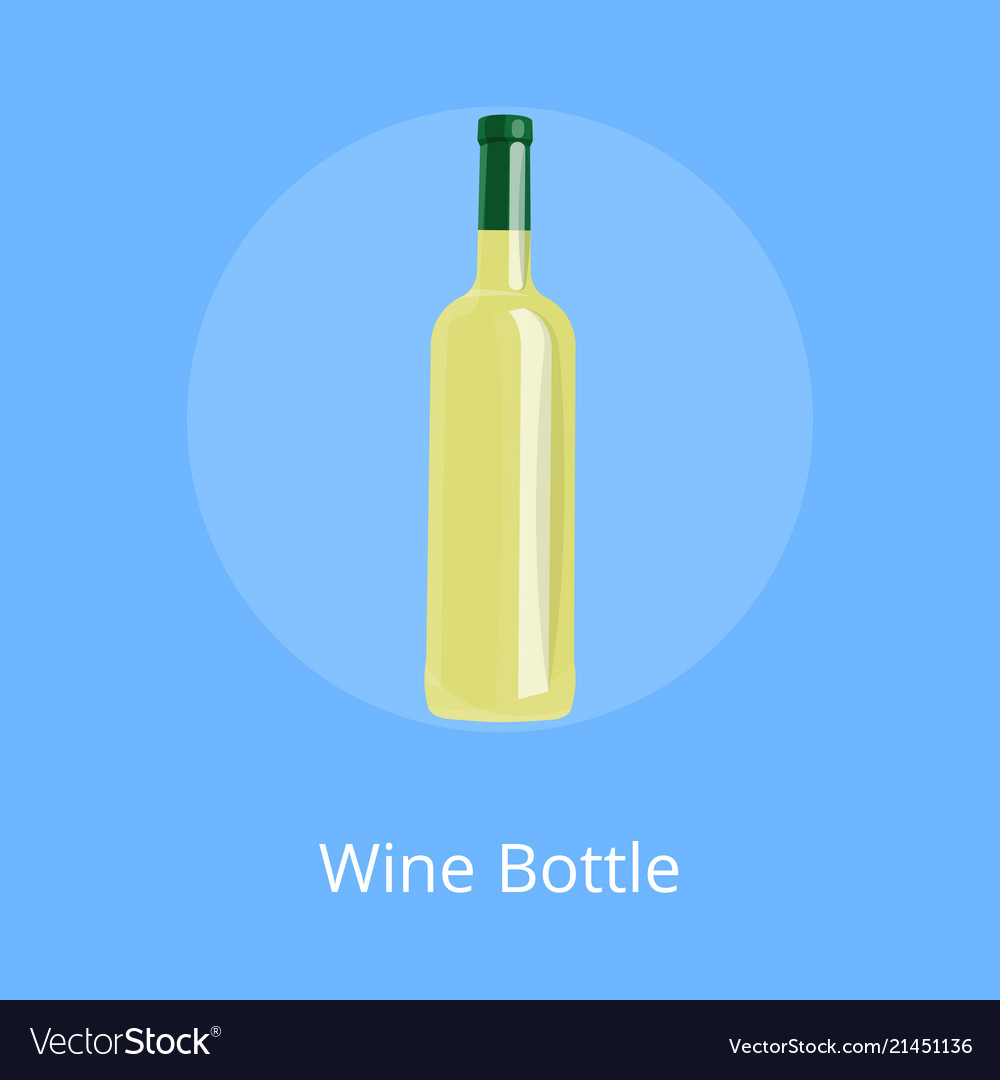 Bottle of white wine isolated on blue background