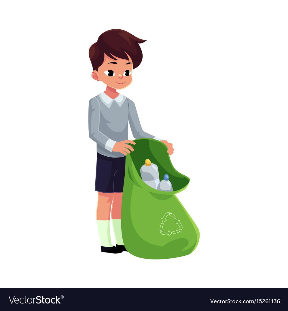 Premium Vector   Happy cute little kid boy collect trash
