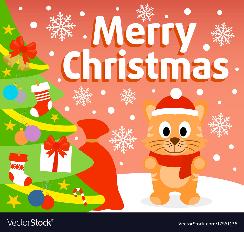Christmas background card with cat vector image