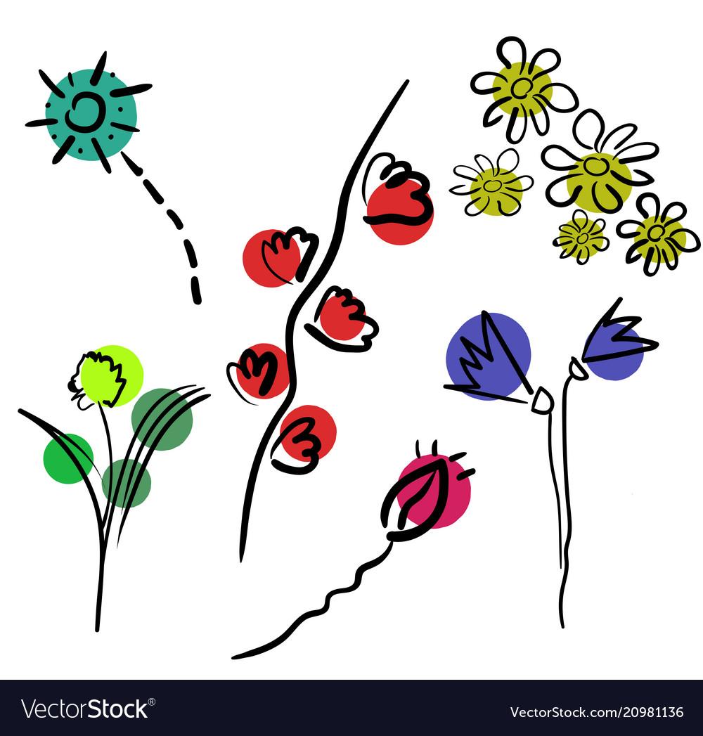 Flowers isolated on white background set of