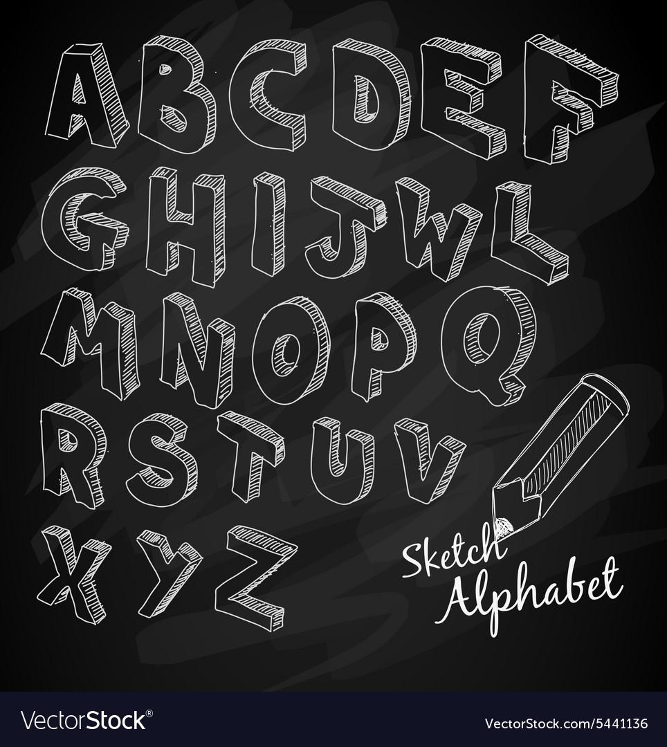 Hand Drawn 3D sketch alphabet Over a chalkboard