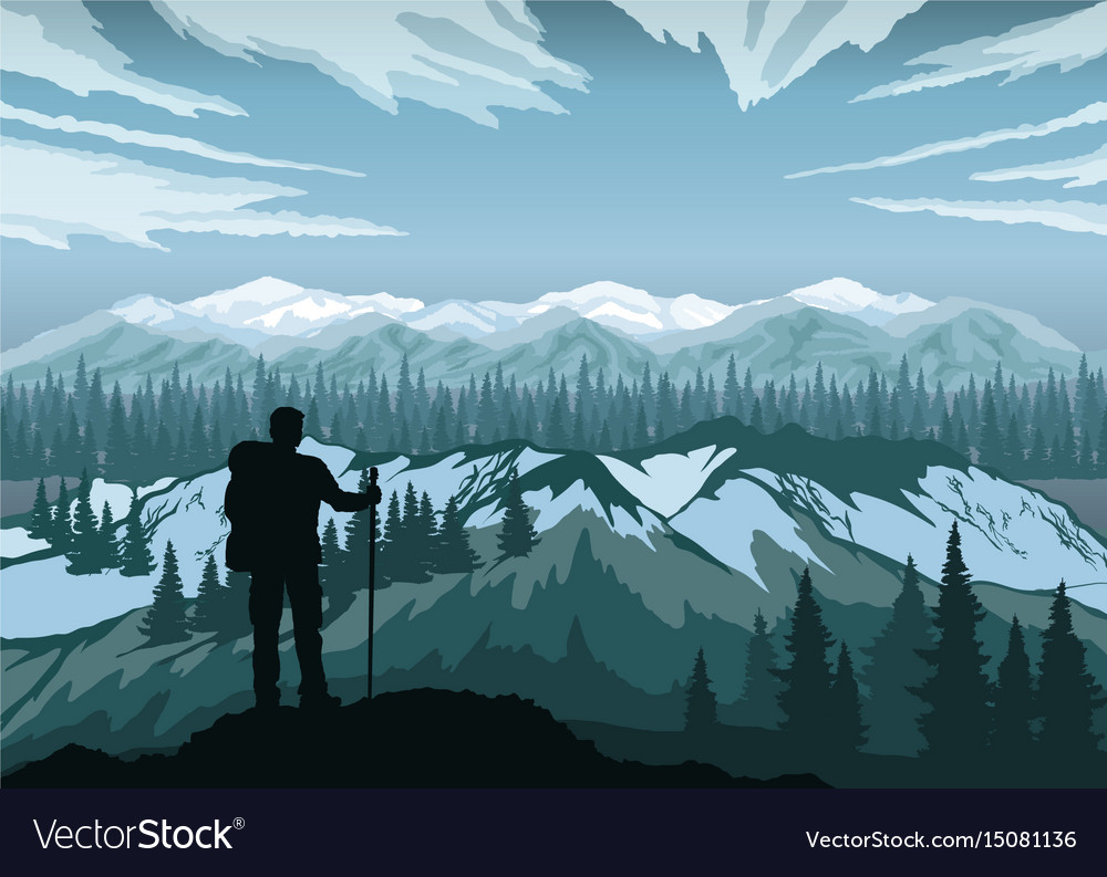 Hiker enjoying landscape mountain peaks