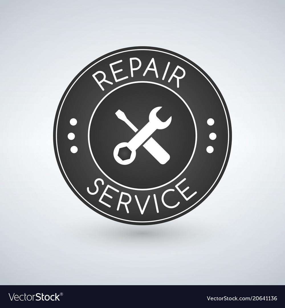 Repair service label logo design template vector image
