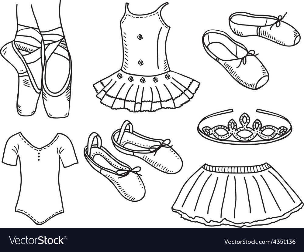 set of ballerina accessories royalty free vector image