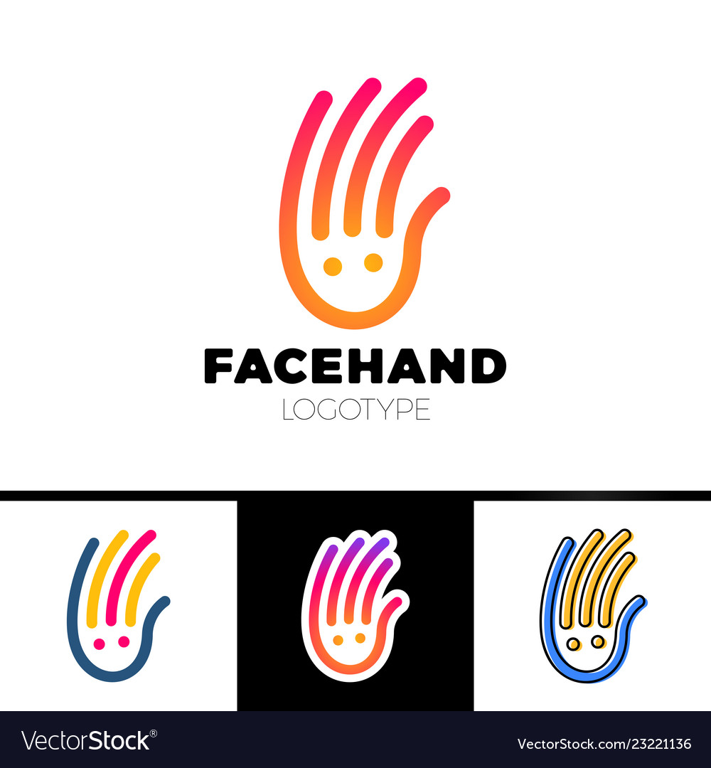 Smile line hand logotype or child care center