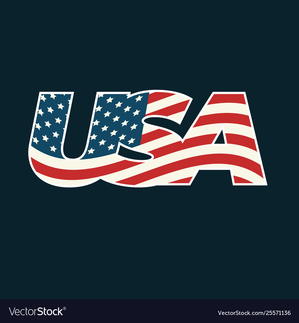 Text usa filled with american flag