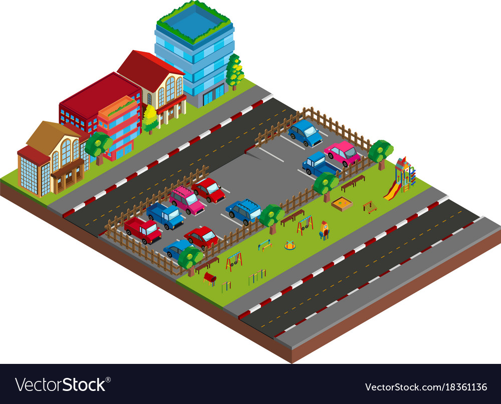 Two scene with buildings and cars in 3d design