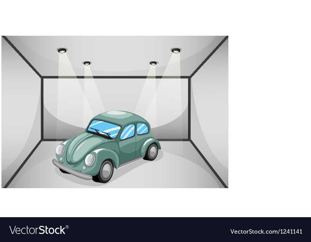 A garage with a car