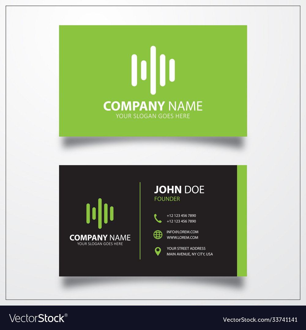 Audio wave icon business card template