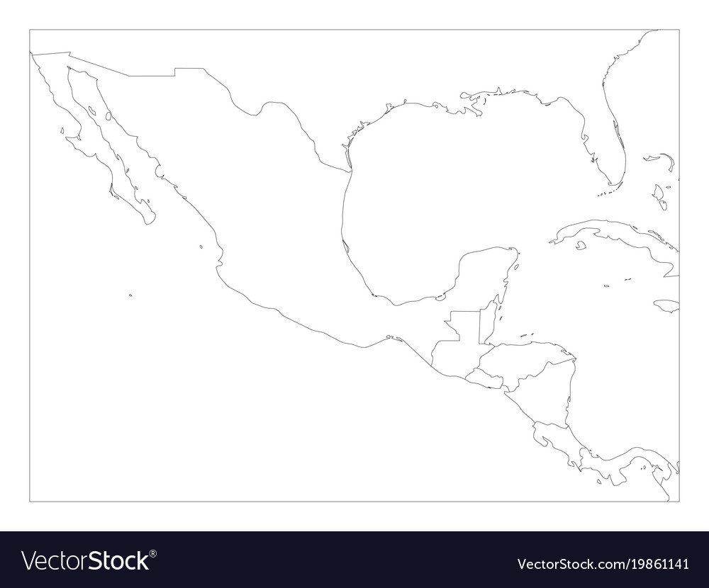 Blank political map of central america and mexico