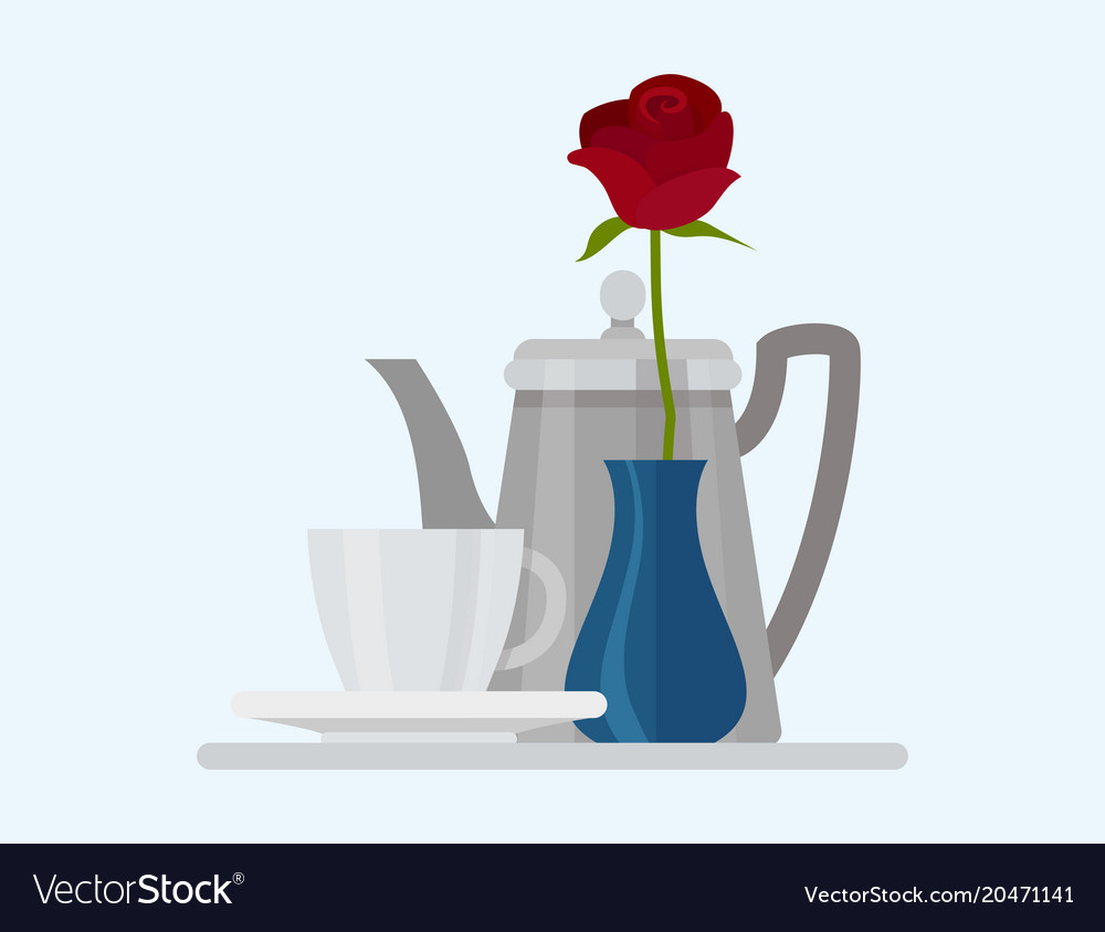 Coffee cup food design restaurant rose flower vector image