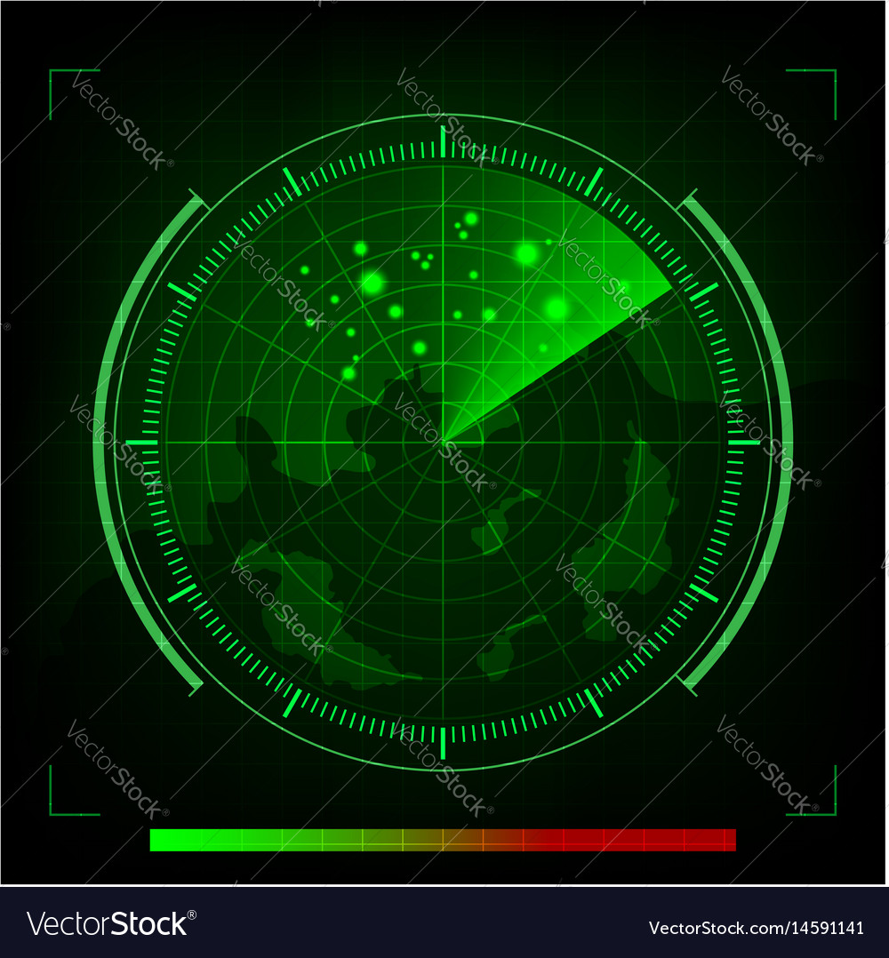 Green radar in searching on black background