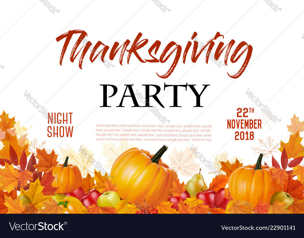 Happy thanksgiving party flyer with colorful