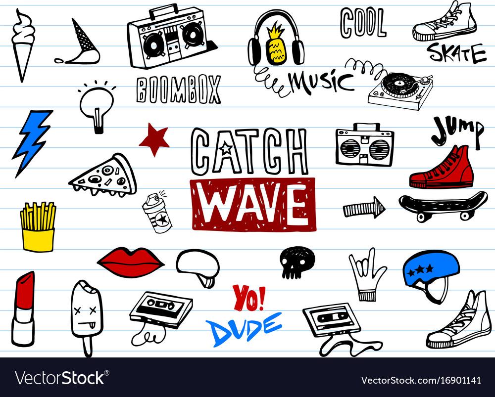 Hipsters teens doodle set
