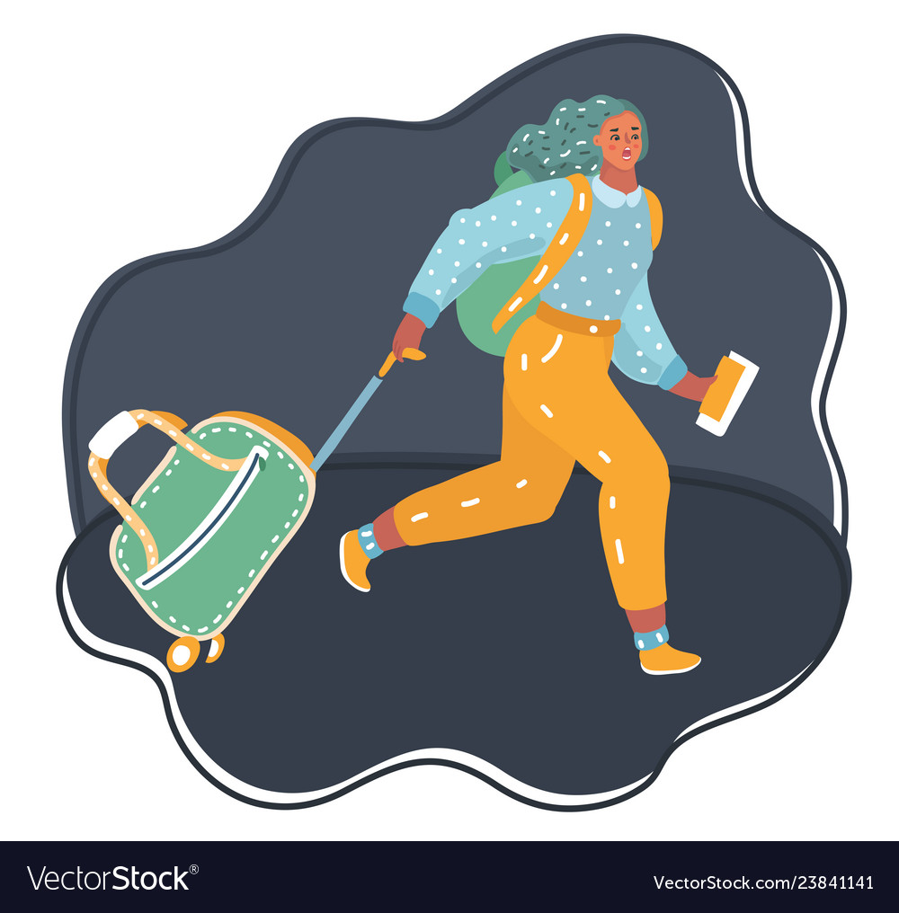 Lovely girl running with suitcase