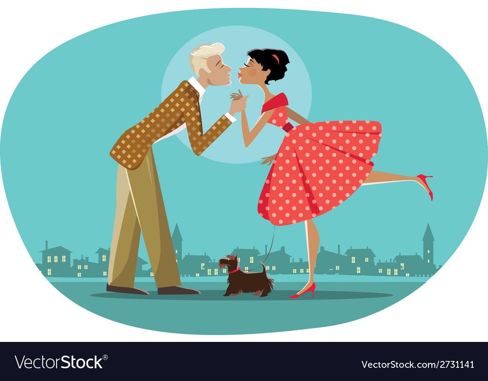 Romantic retro couple kissing