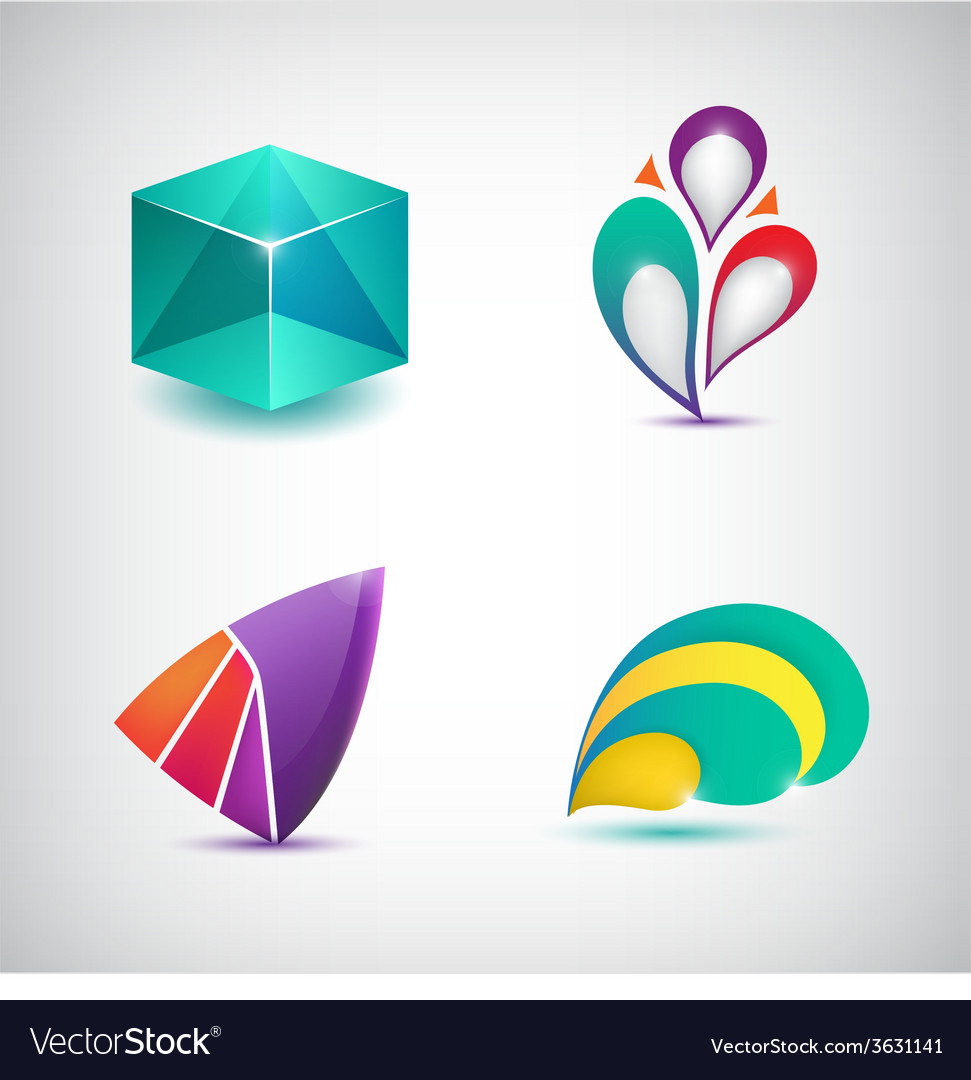 Set of abstract colorful icons logos