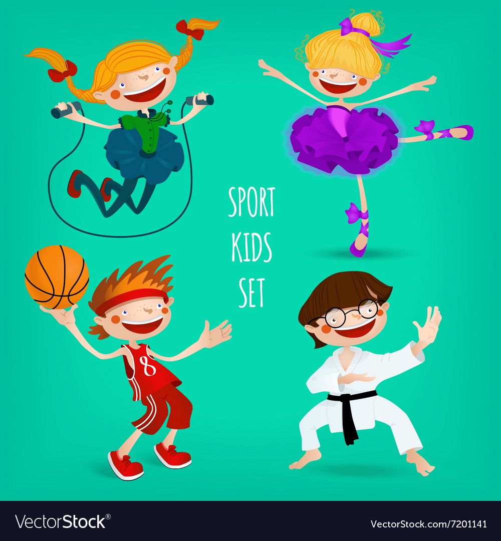 Set of sportive kids