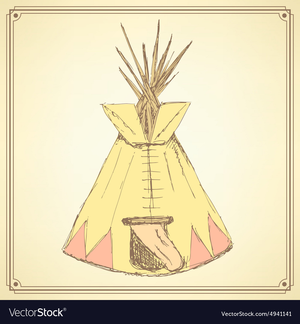 Sketch teepee house in vintage style