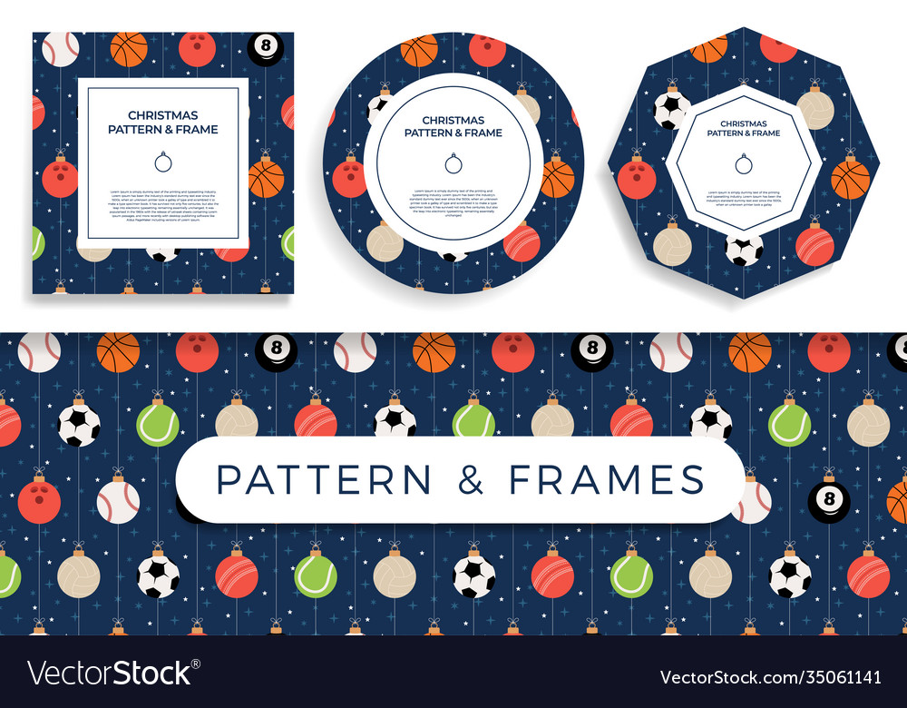 Sport christmas seamless pattern and frame