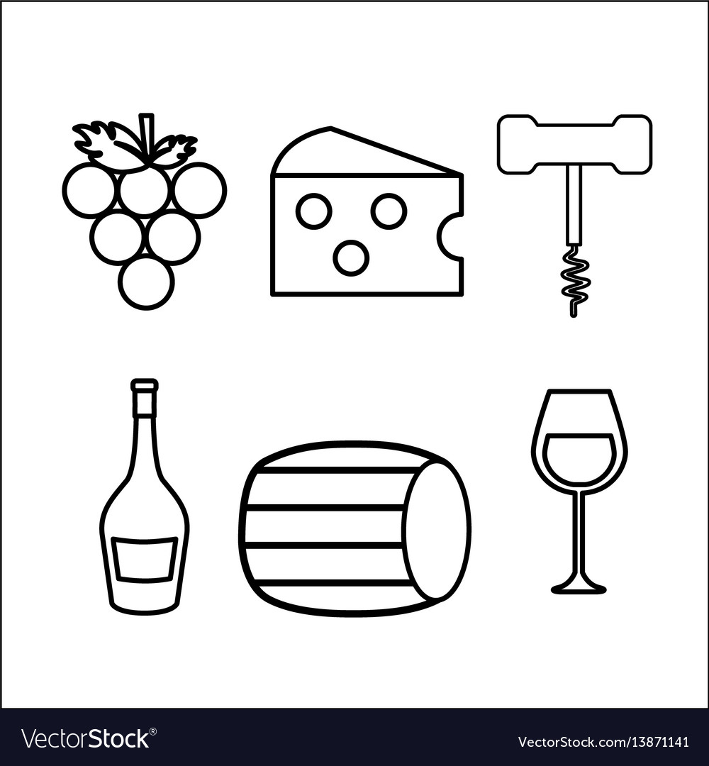 Take out cork grape cheese glass and bottle vector image