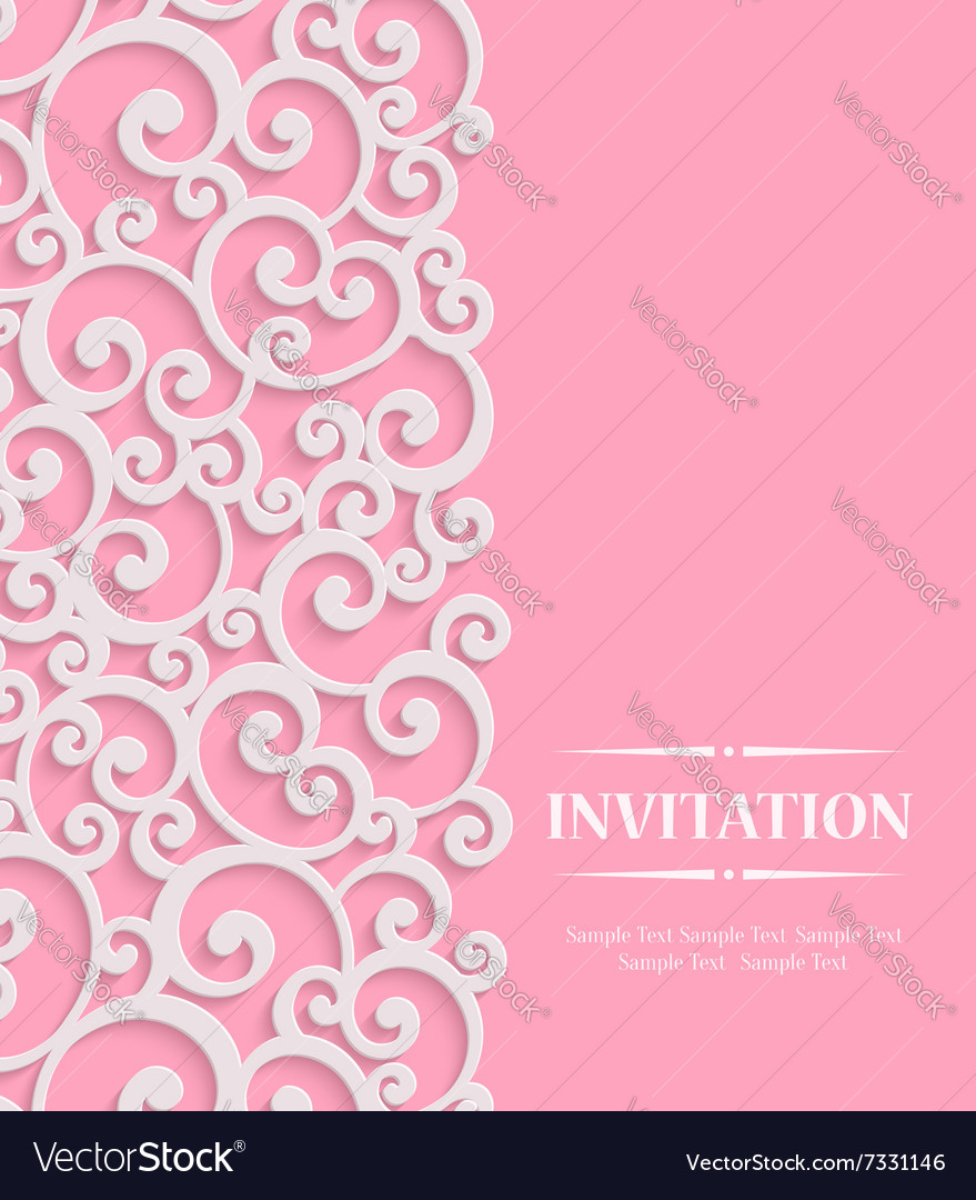 3d pink vintage invitation card with floral vector image stopboris Images