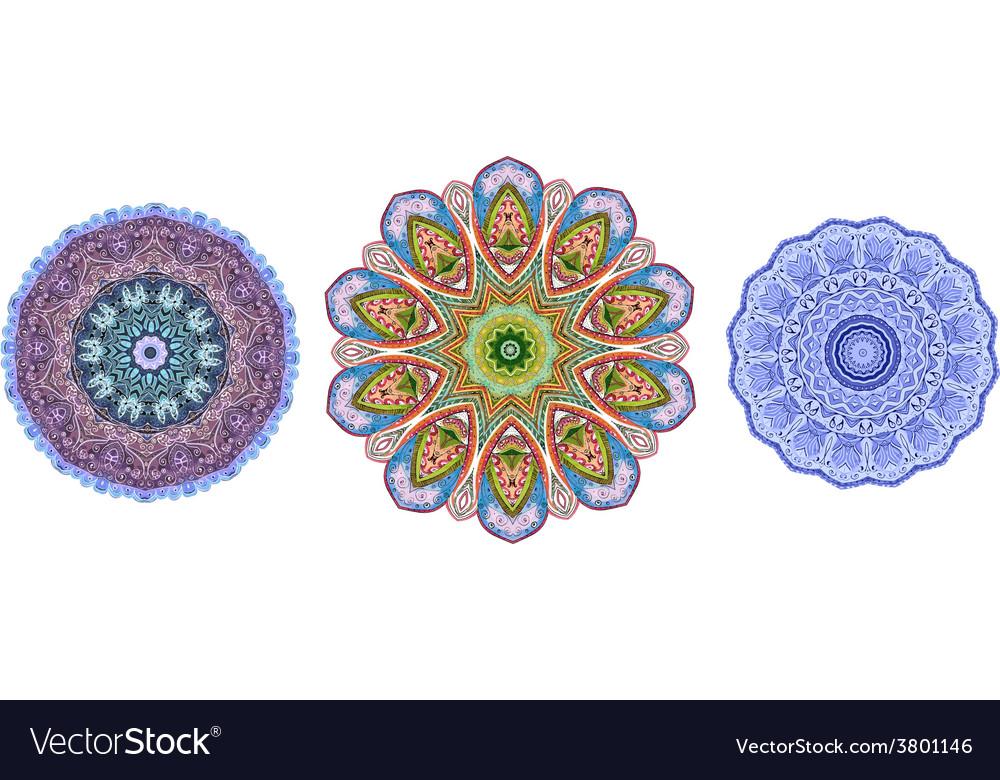 Abstract circular pattern of arabesques watercolor