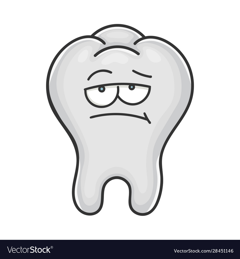 Bored Unhappy Cute Tooth Cartoon Royalty Free Vector Image