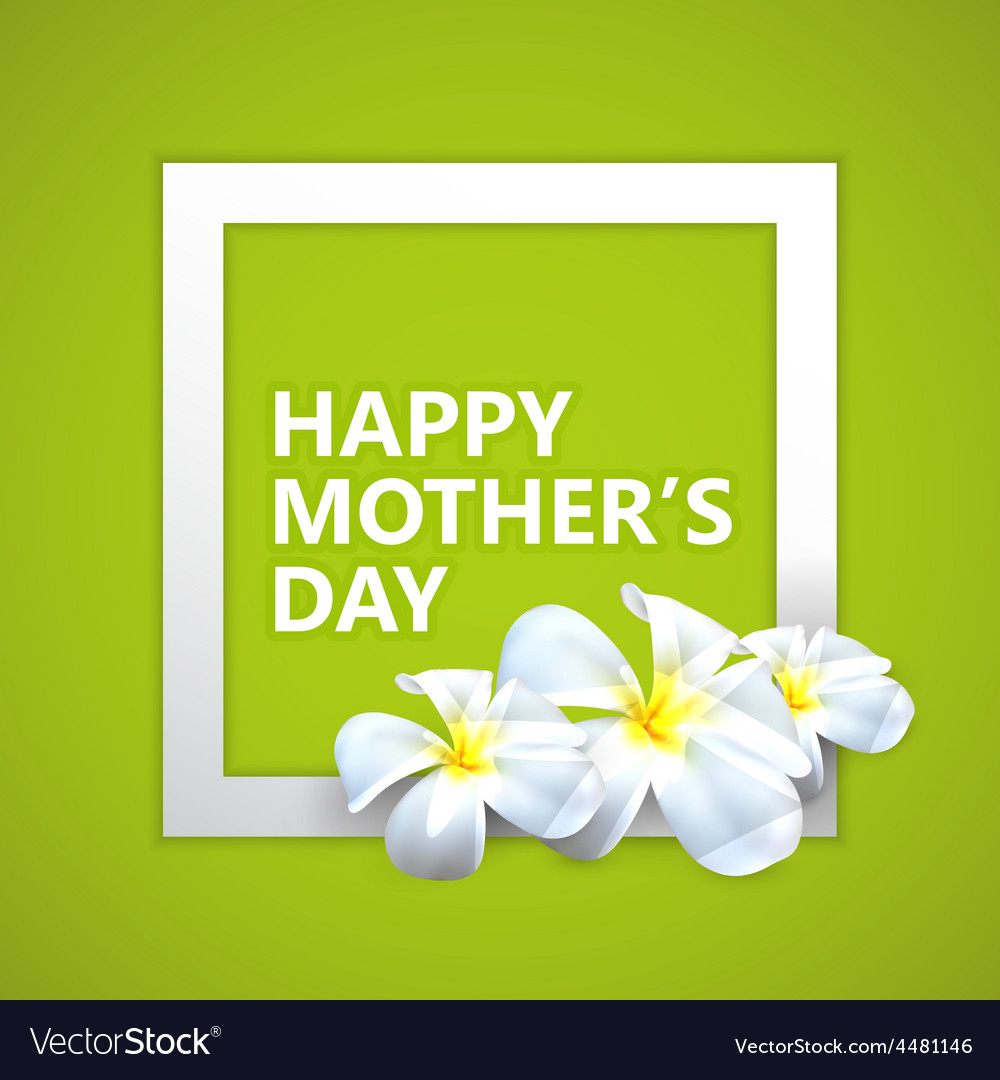 Happy Mothers Day label with flowers