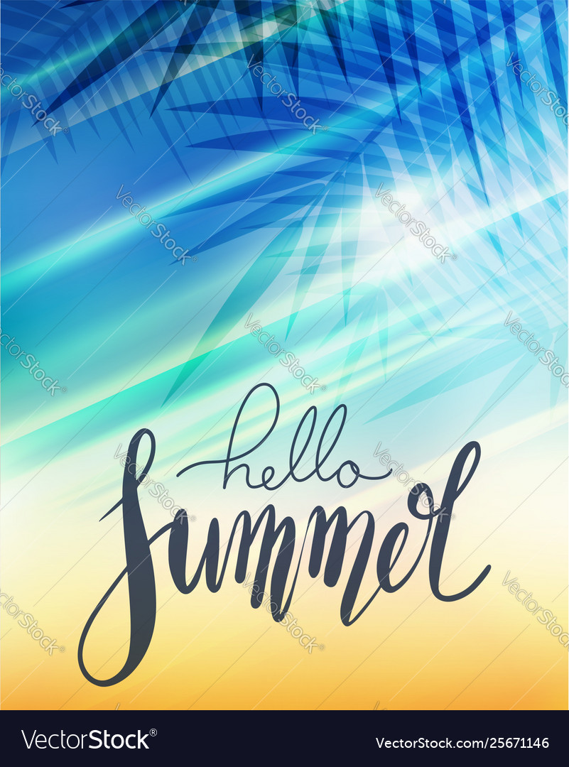 Hello summer handwritten lettering with palm