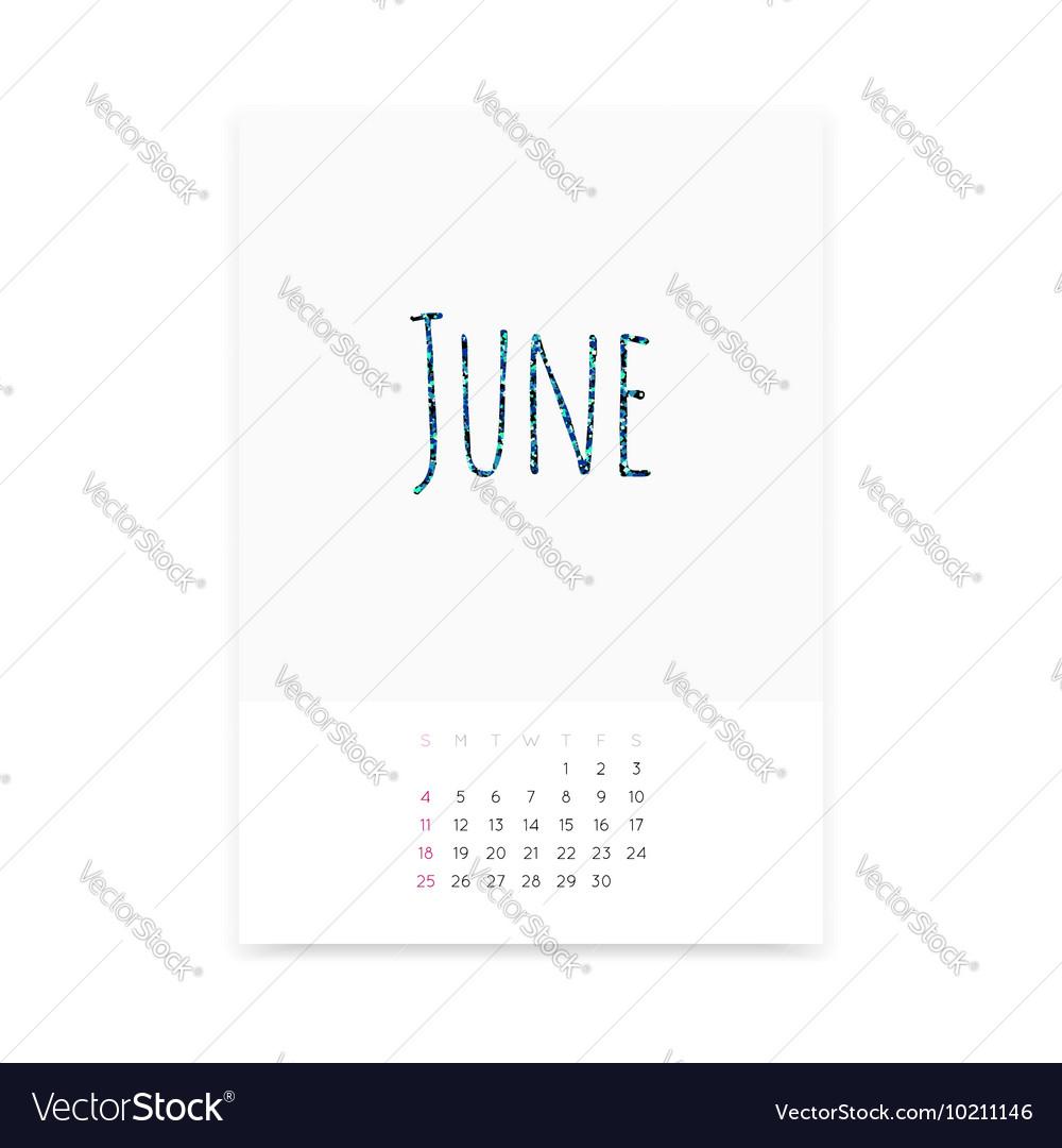 June 2017 Calendar Page