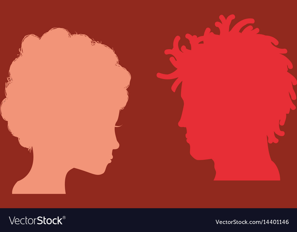 Man and woman heads silhouettes