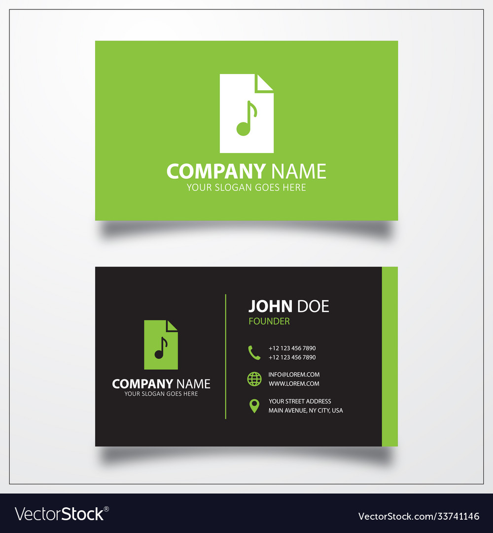 Mp3 music file icon business card template