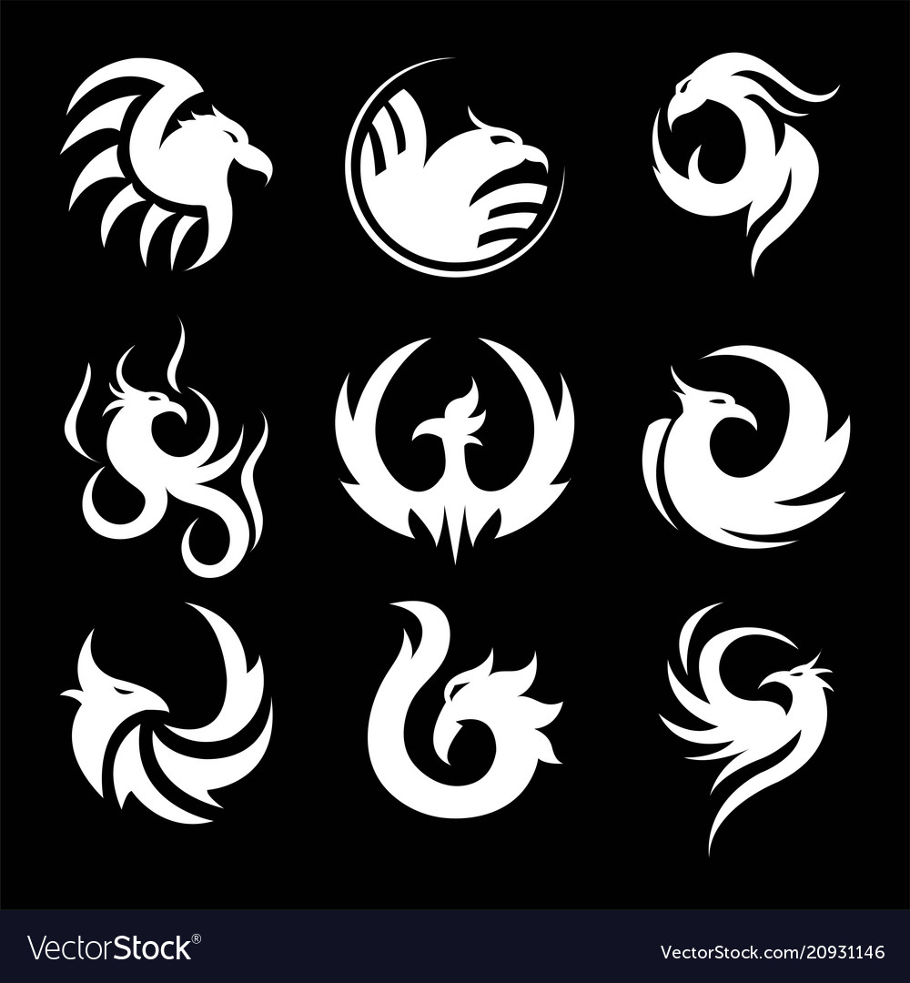 Phoenix swirly silhouettes small tattoo samples