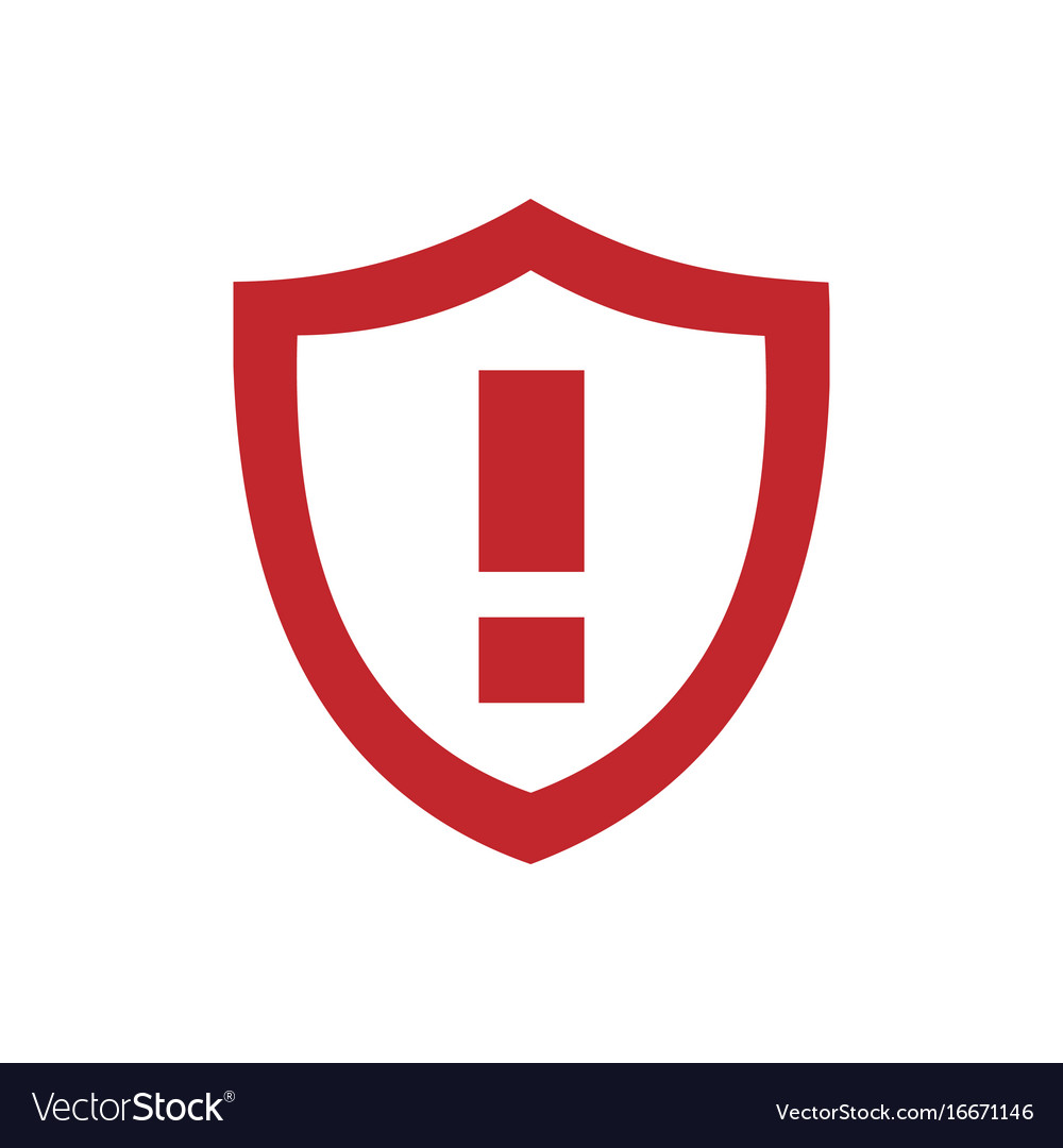 Red warning shield icon on a white background vector image