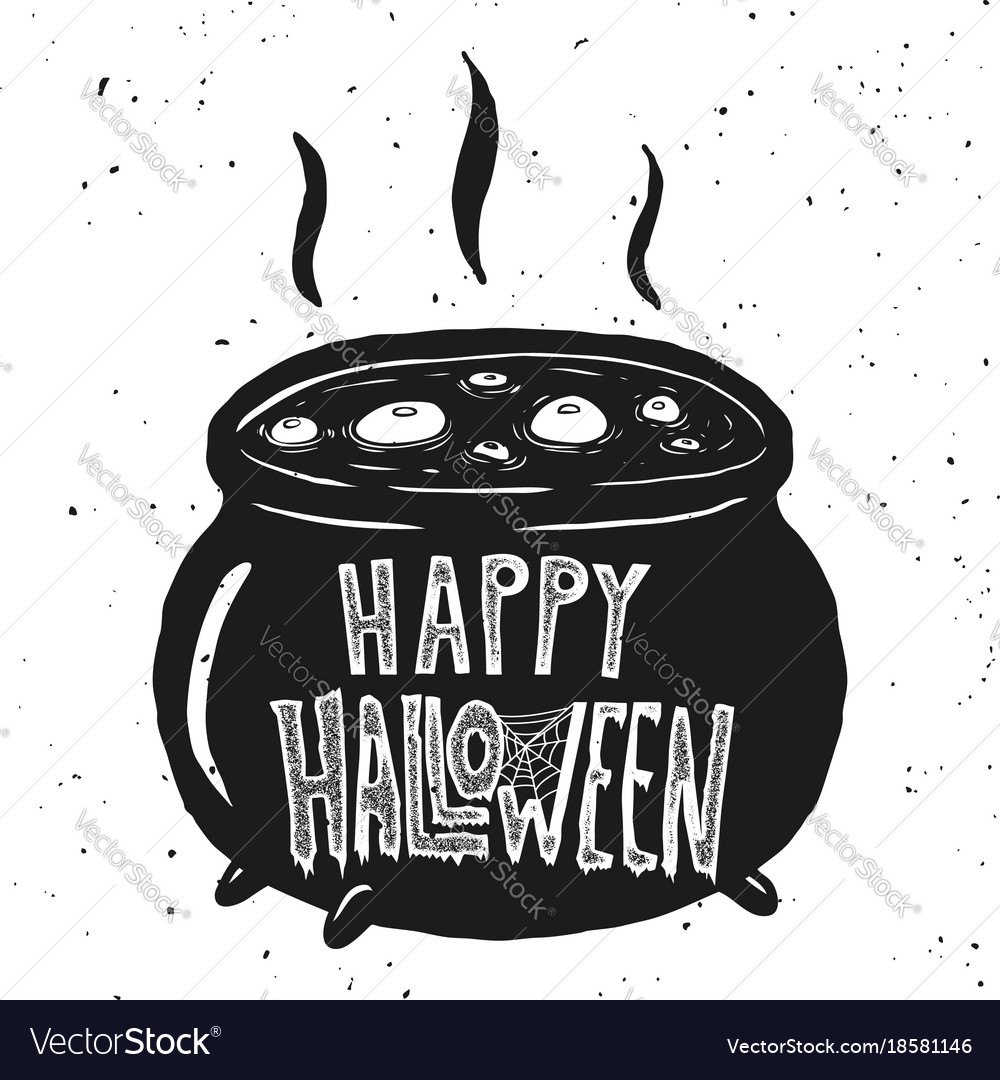 Trick or treat witch kettle on white background