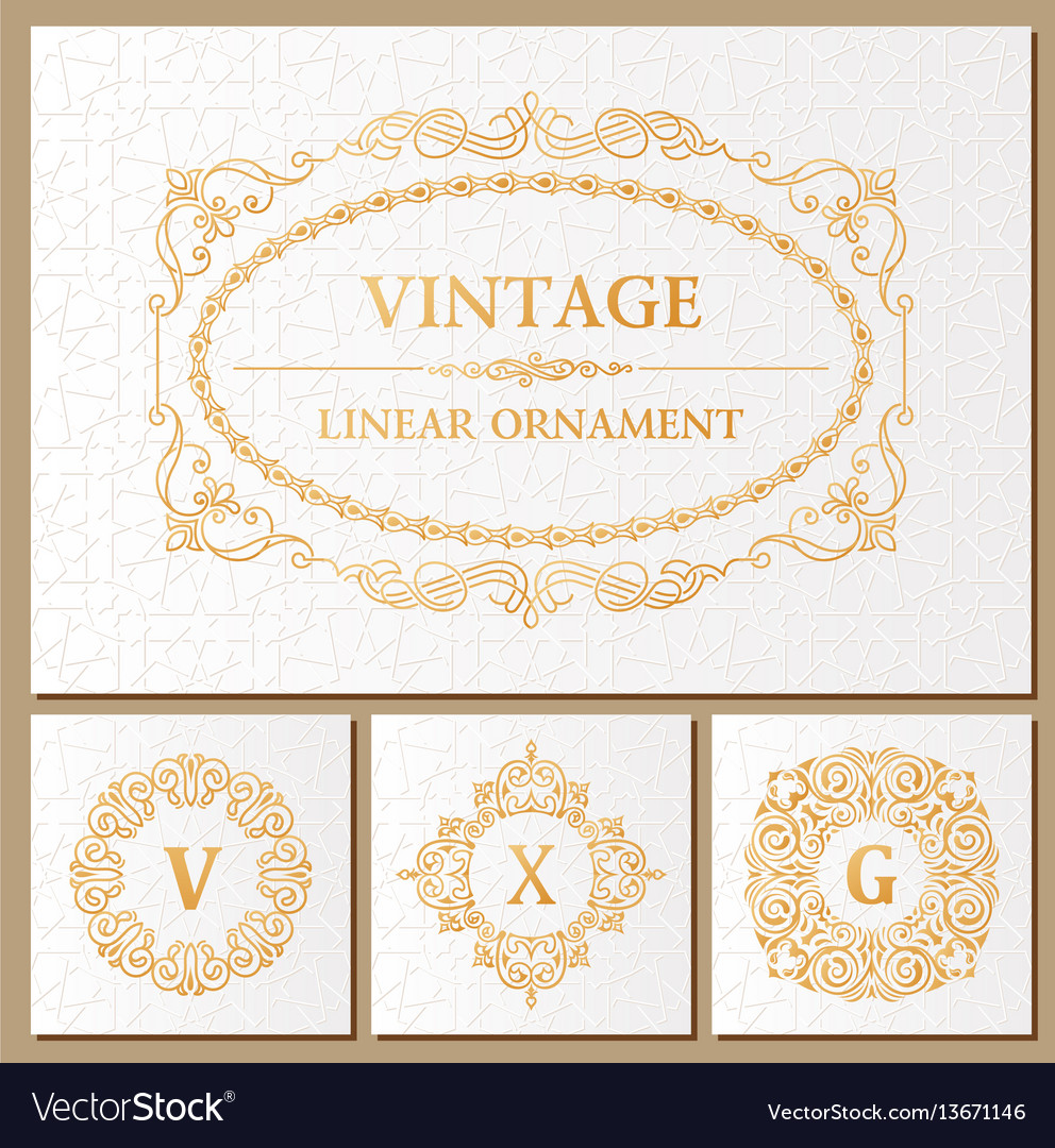 Vintage set retro cards template greeting card