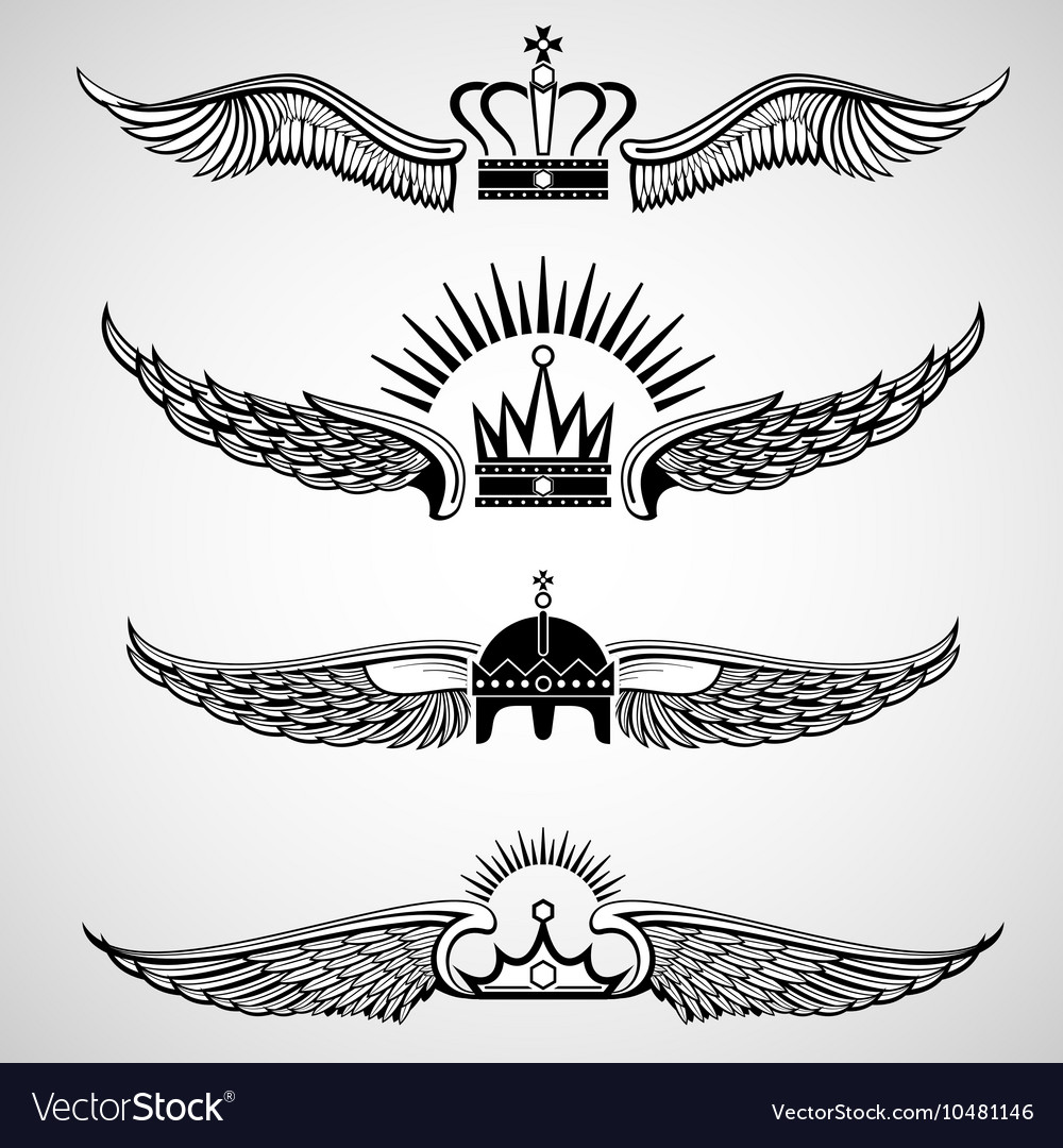 Wings with crowns emblems set