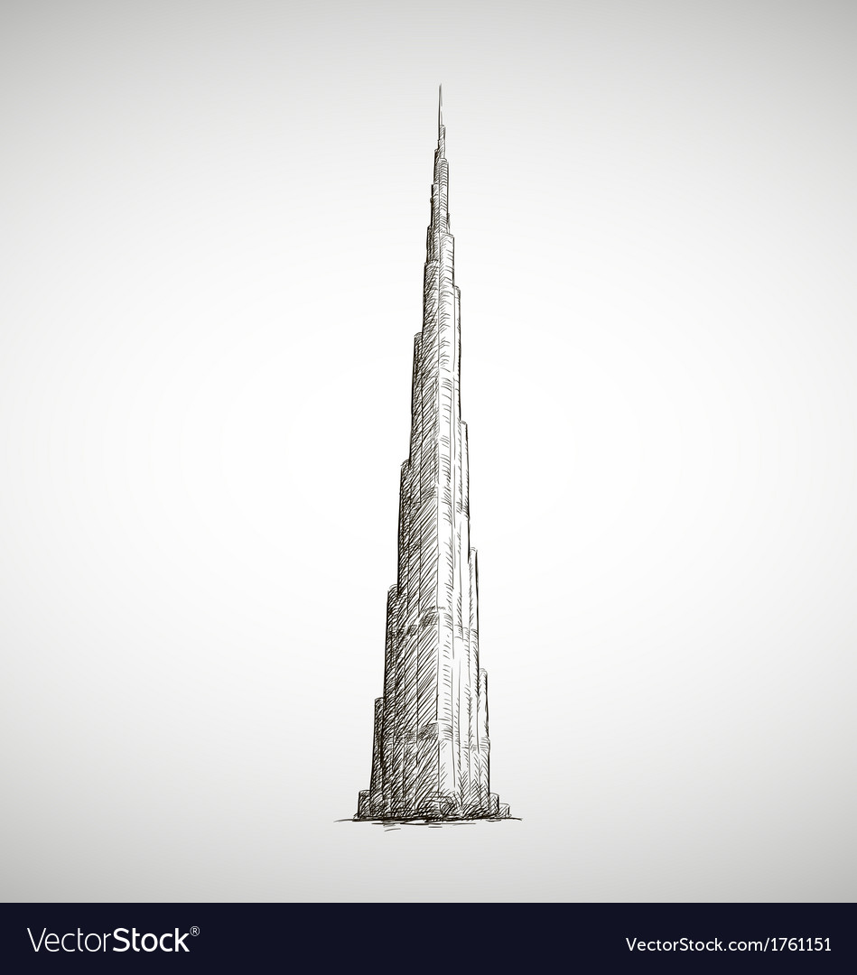 Burj Khalifa drawing Sketch style