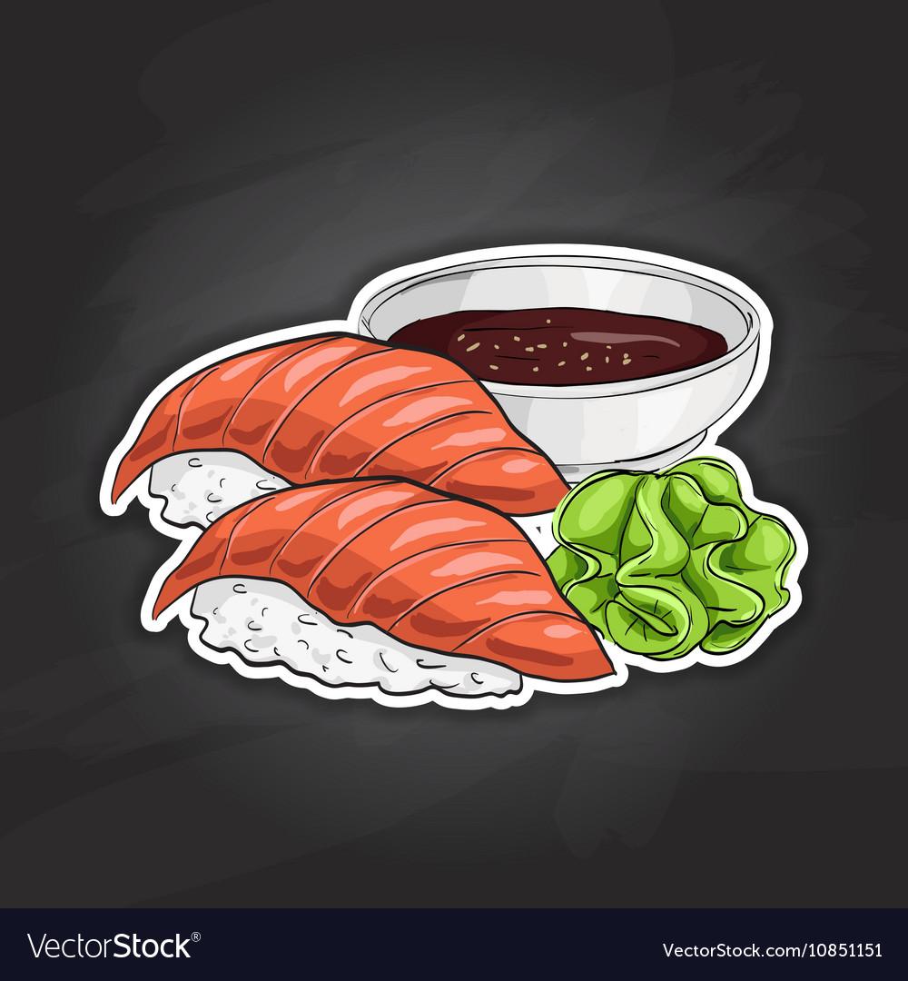 Color sticker Sake Nigiri Sushi
