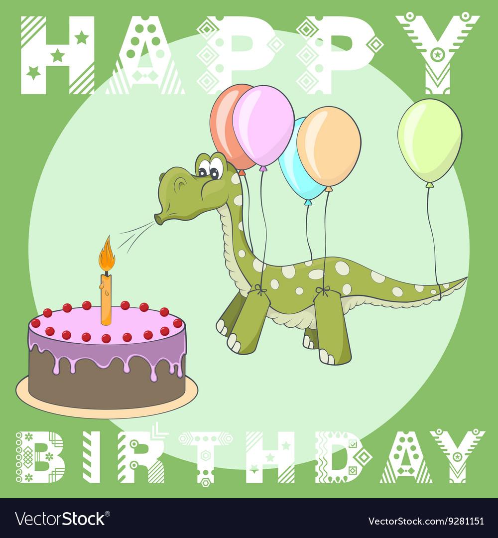 Happy Birthday Greeting Card Cake Balloons Dino Vector Image