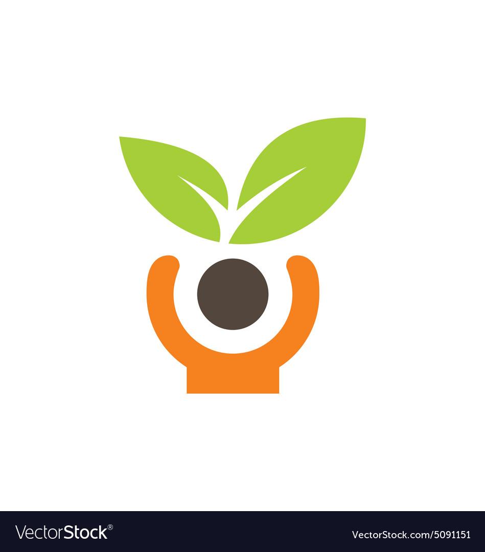 People green leaf vegetarian logo vector image