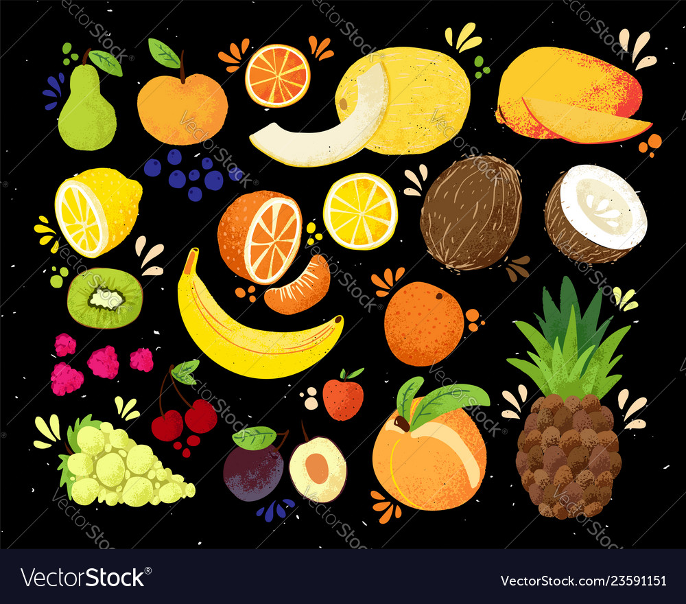 Set of colorful hand draw fruits tropical sweet