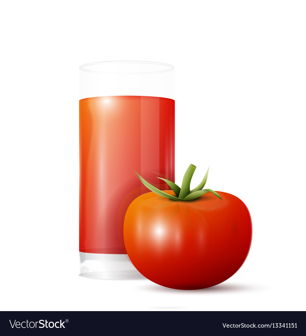Tomato and glass of juice