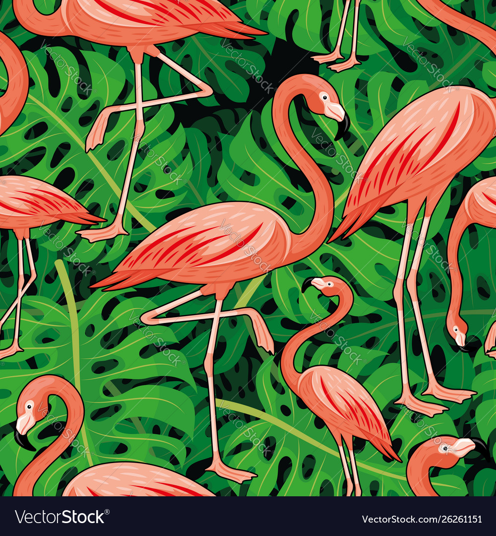 Tropical leaves and pink flamingos