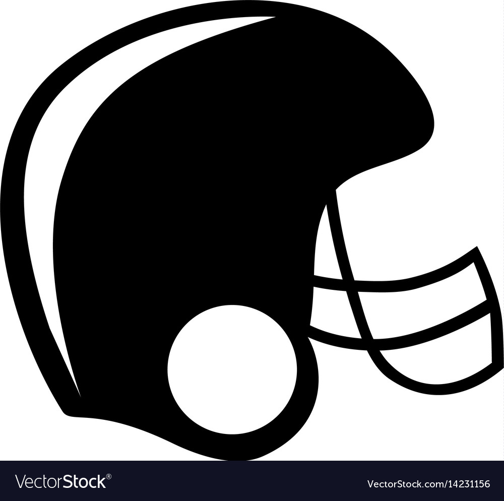 Black silhouette american football helmet