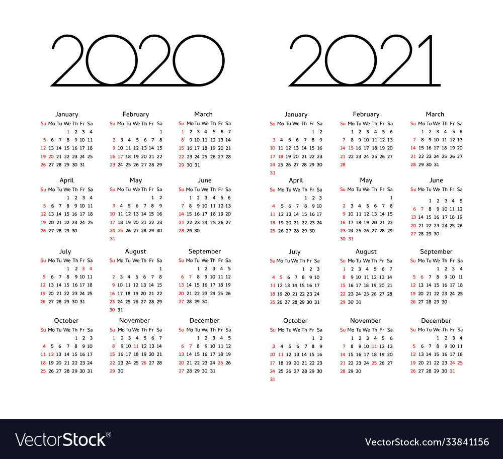 Calendar 2020 2021 year editable template