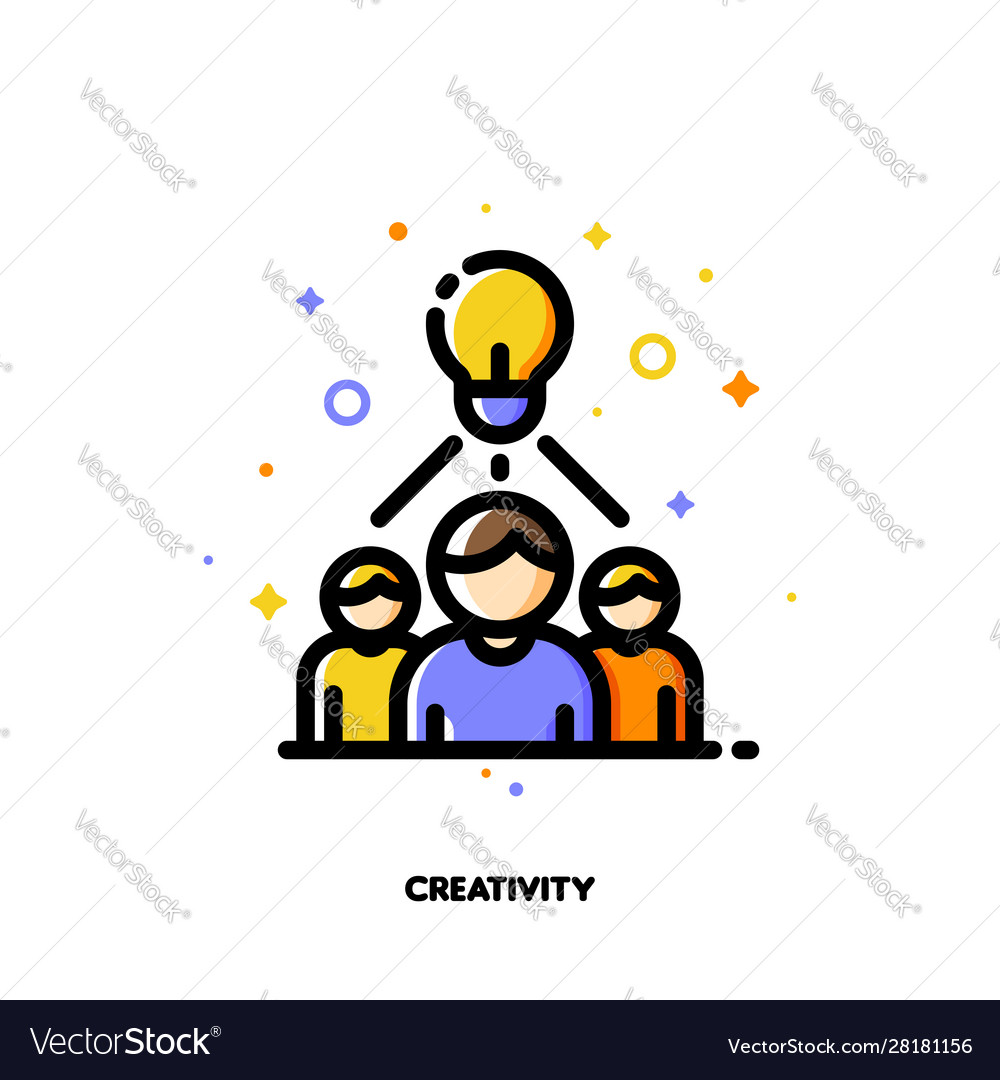Creative business team and light bulb icon